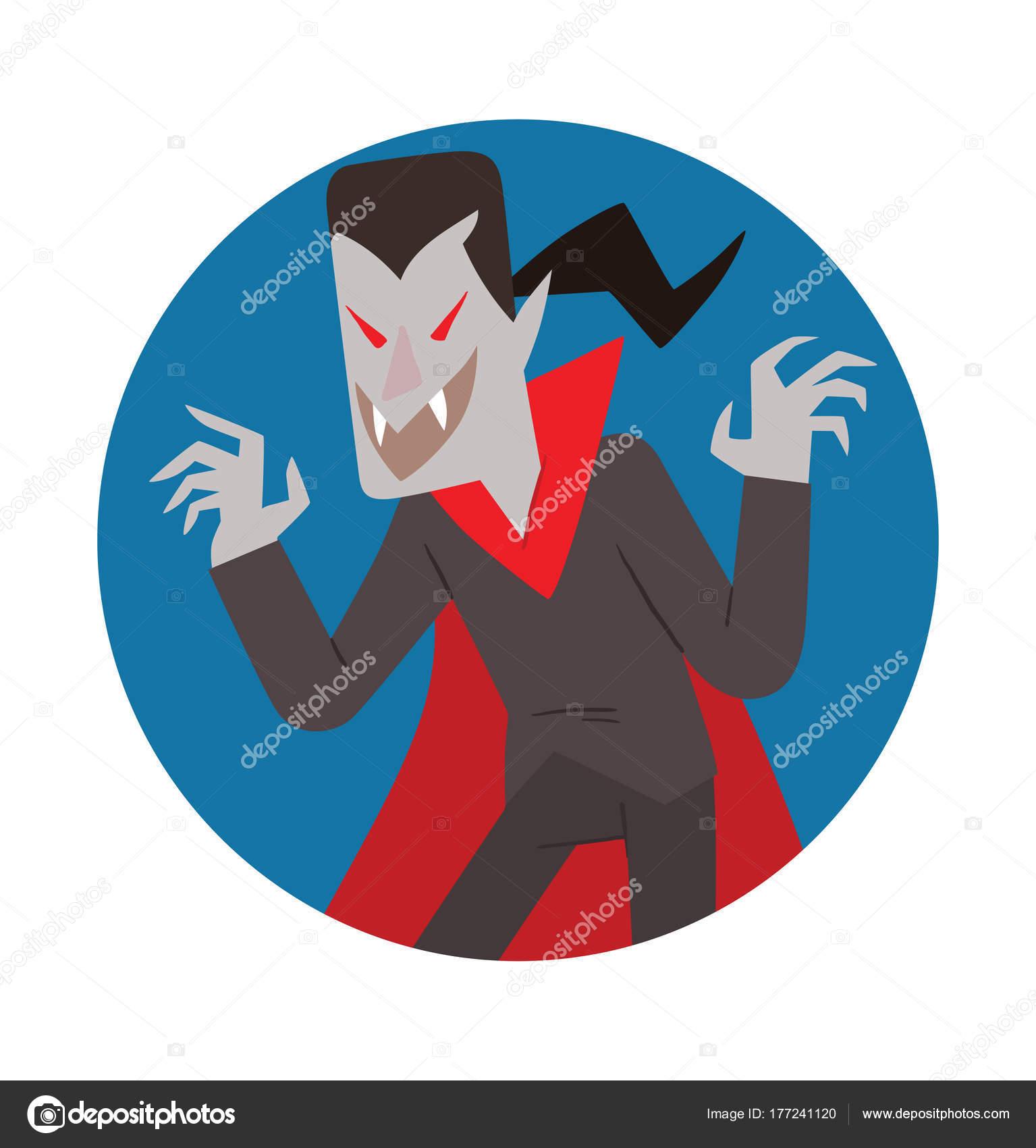 Runder blauer Rahmen, lustigen Vampir erschreckend jemand ...