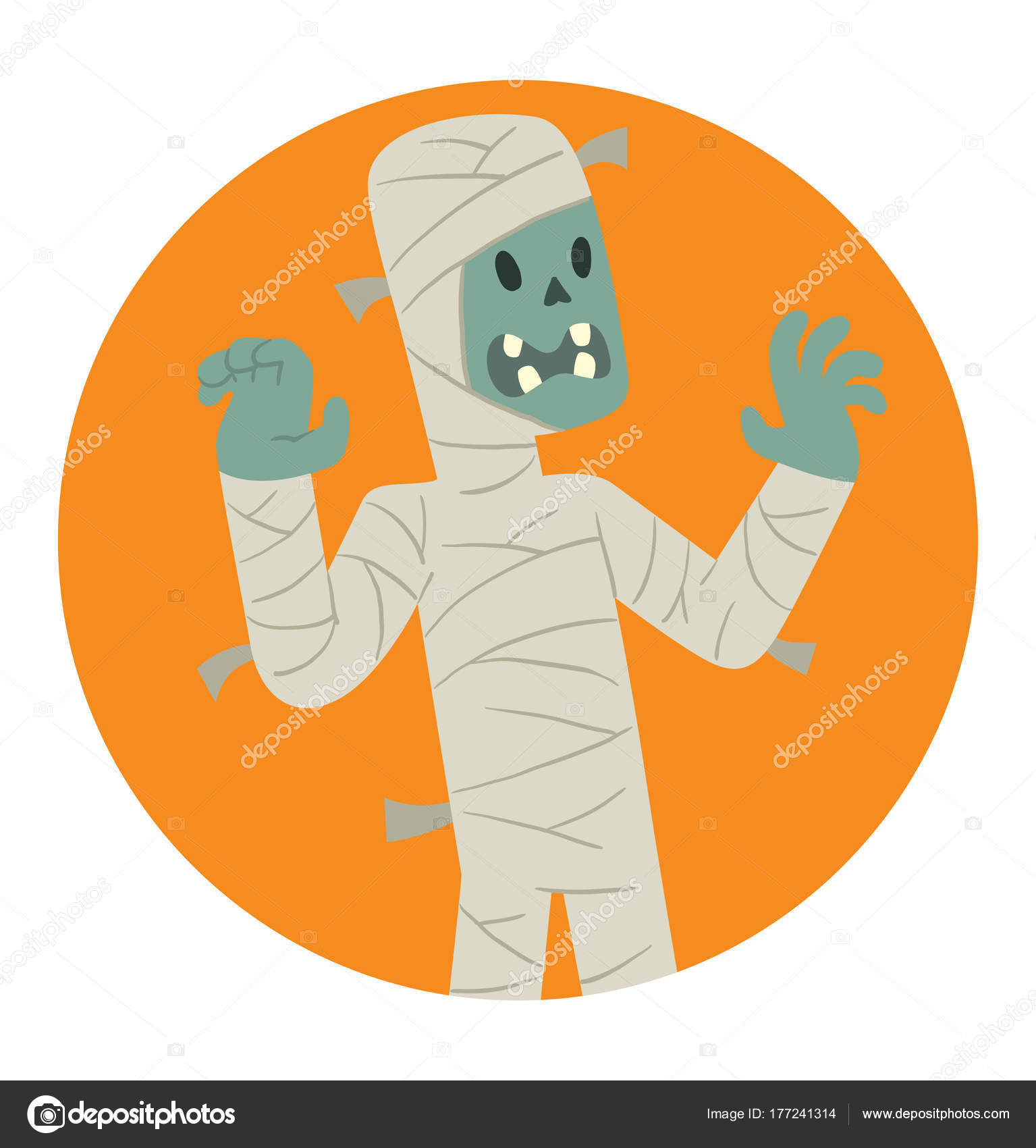 Runde Rahmen, lustige Mumie erschreckend jemand — Stockvektor ...