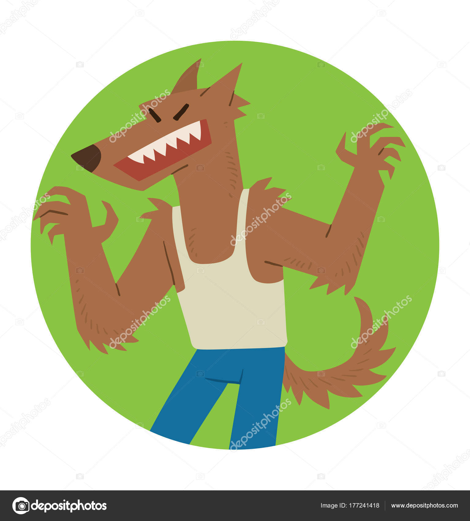 Runde Rahmen, lustige Werwolf erschreckend jemand — Stockvektor ...