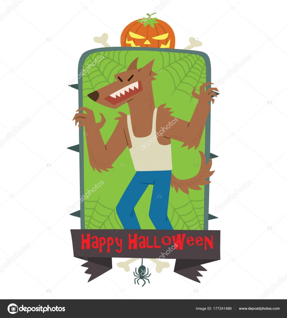 Emblem Happy Halloween, funny werewolf frightening someone — Stock ...