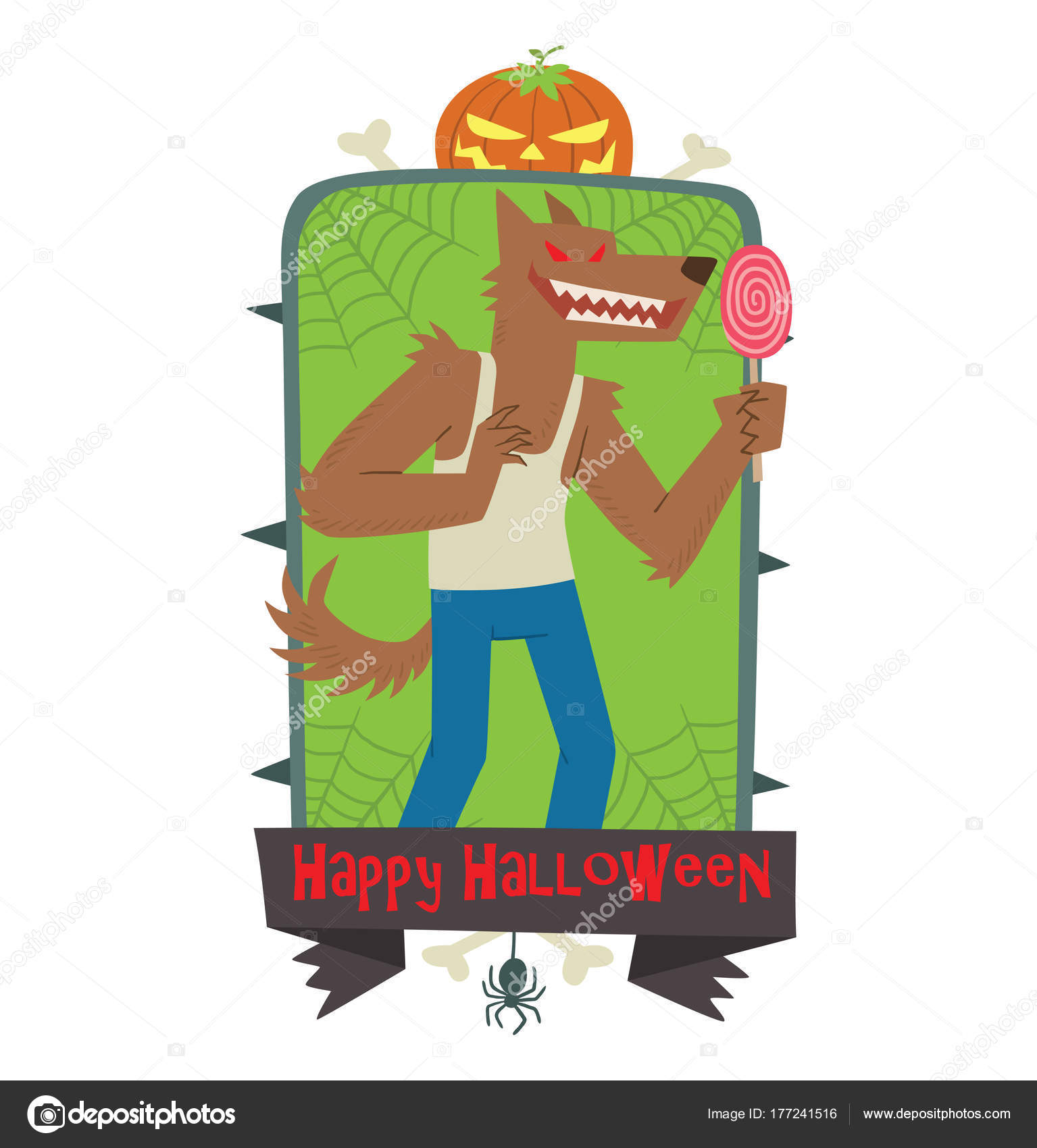 Feliz Halloween emblema, divertido hombre lobo con una paleta de ...