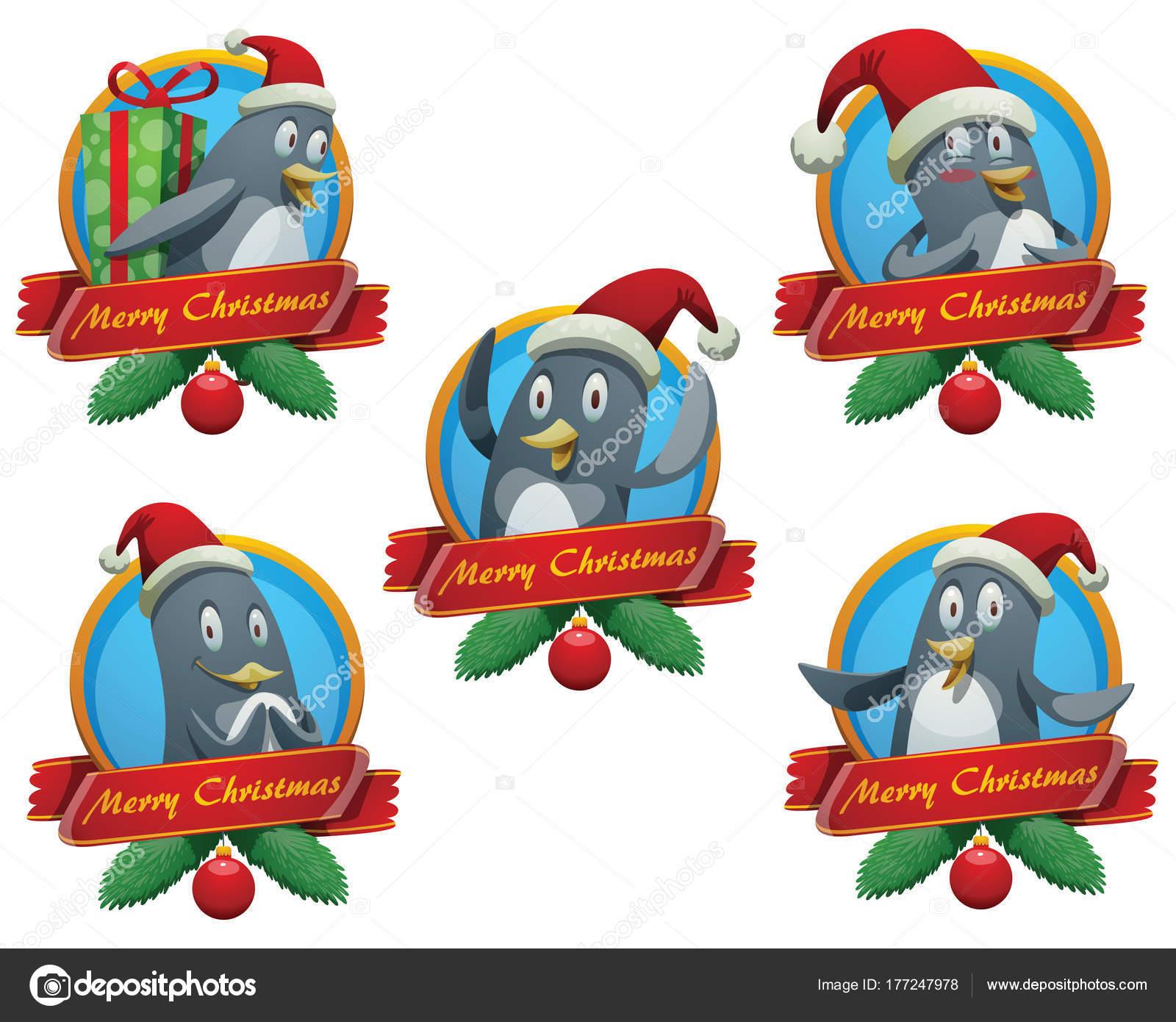 Satz von fünf Weihnachten Frames mit lustigen Pinguinen ...