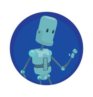 Round frame, funny light blue robot walking somewhere