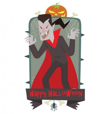 Emblem Happy Halloween, funny vampire frightening someone