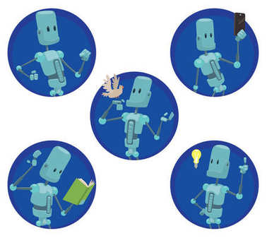 Set of five round frames with funny light blue robots