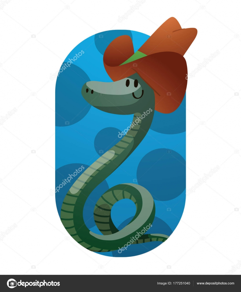 624d3ff736a Frame, funny green snake with a big brown cowboy hat — Stock Vector ...