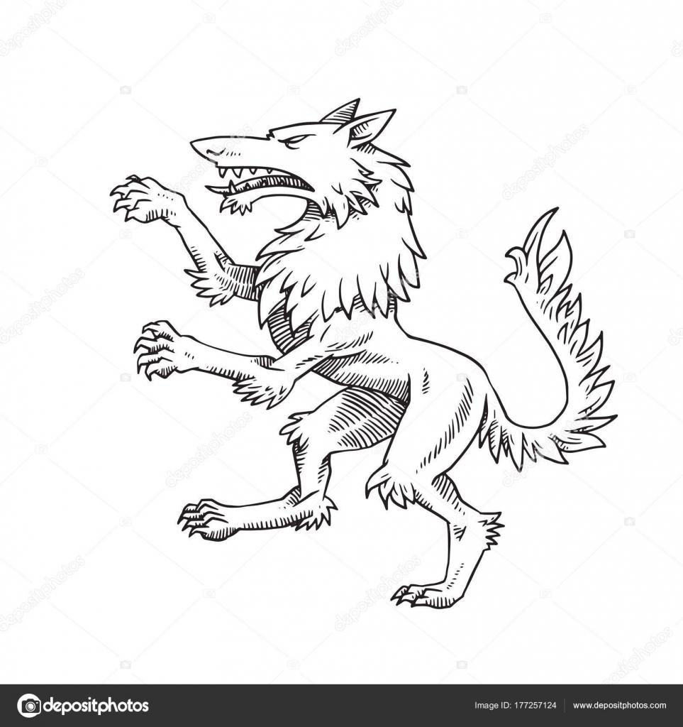 Heraldic Wolf Turn Left Monochrome Style Stock Vector Tannilion