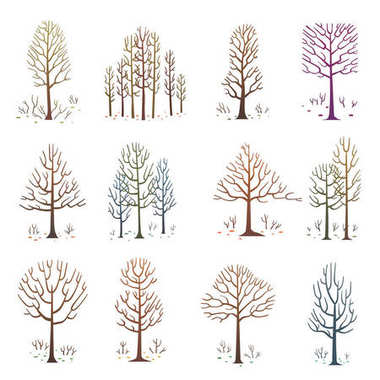 Set of various bare trees without leaves