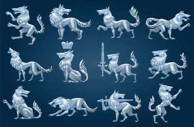 Set of twelve heraldic wolves, color image
