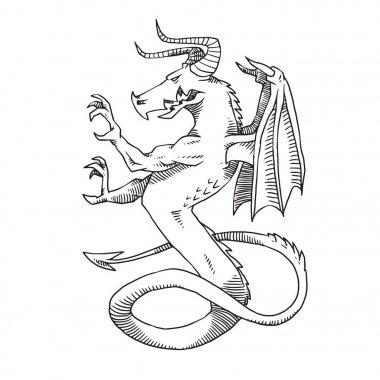 Heraldic formidable dragon turn left, monochrome style