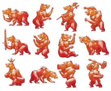 Set of twelve heraldic bears, color image