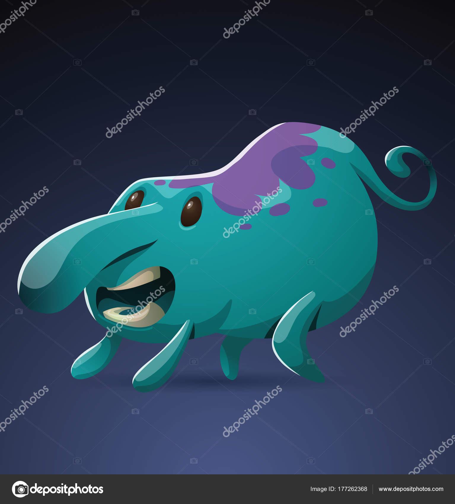 Mostro blu luce divertente con un grande naso u2014 vettoriali stock
