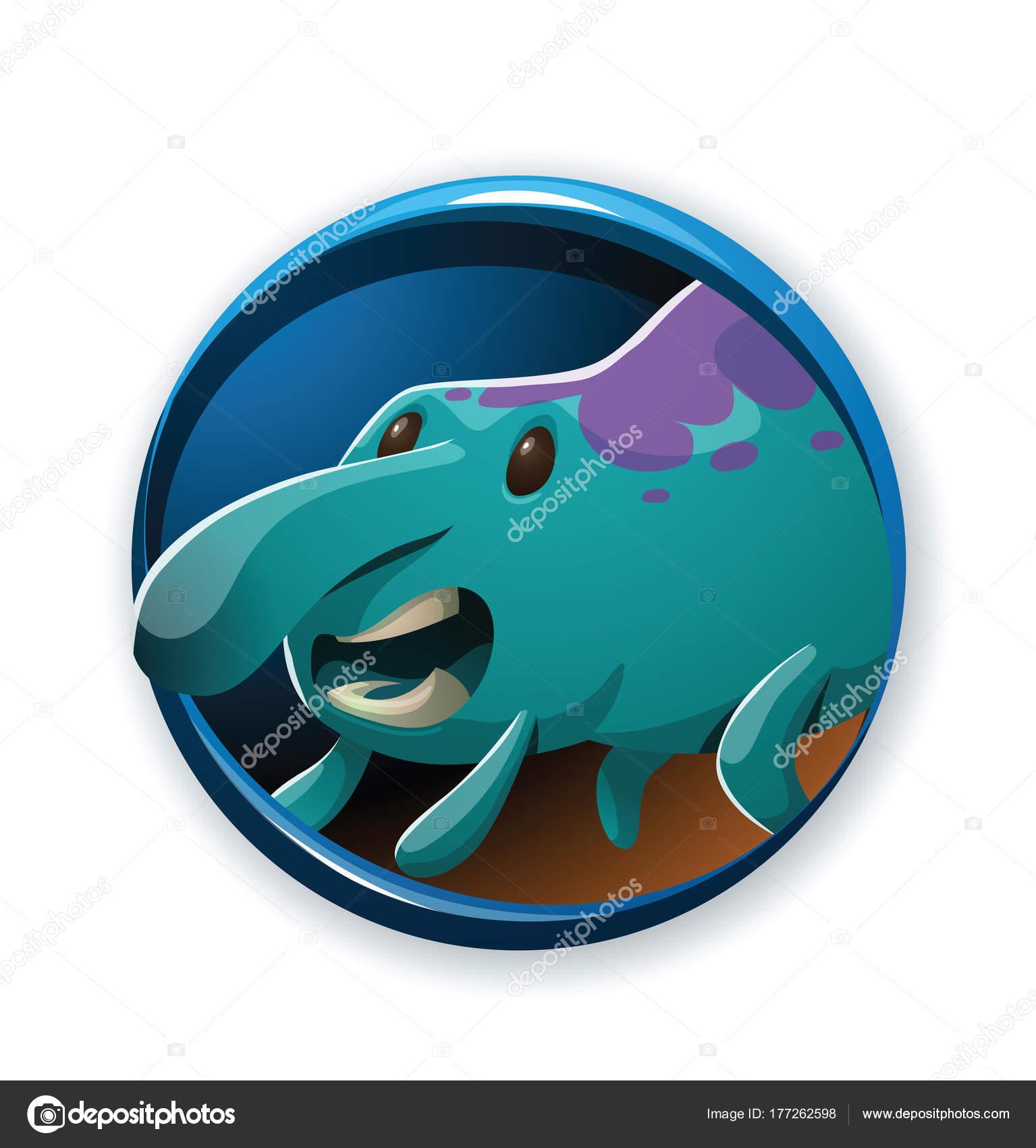 Runde Rahmen, lustige helle blaue Monster mit einer großen Nase ...