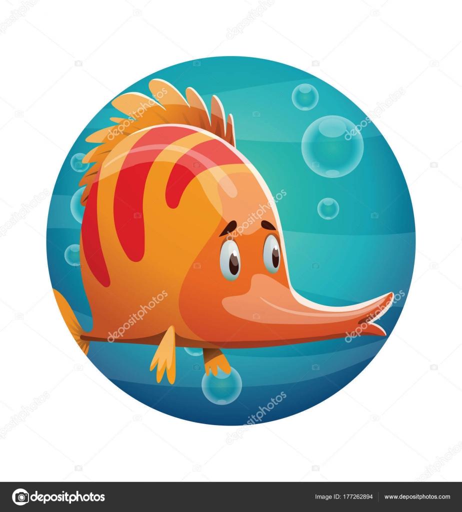 Marco redondo, lindo pescado naranja — Archivo Imágenes Vectoriales ...