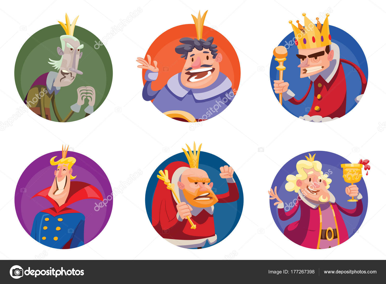 Set of six round frames with funny kings — Stock Vector © tannilion ...