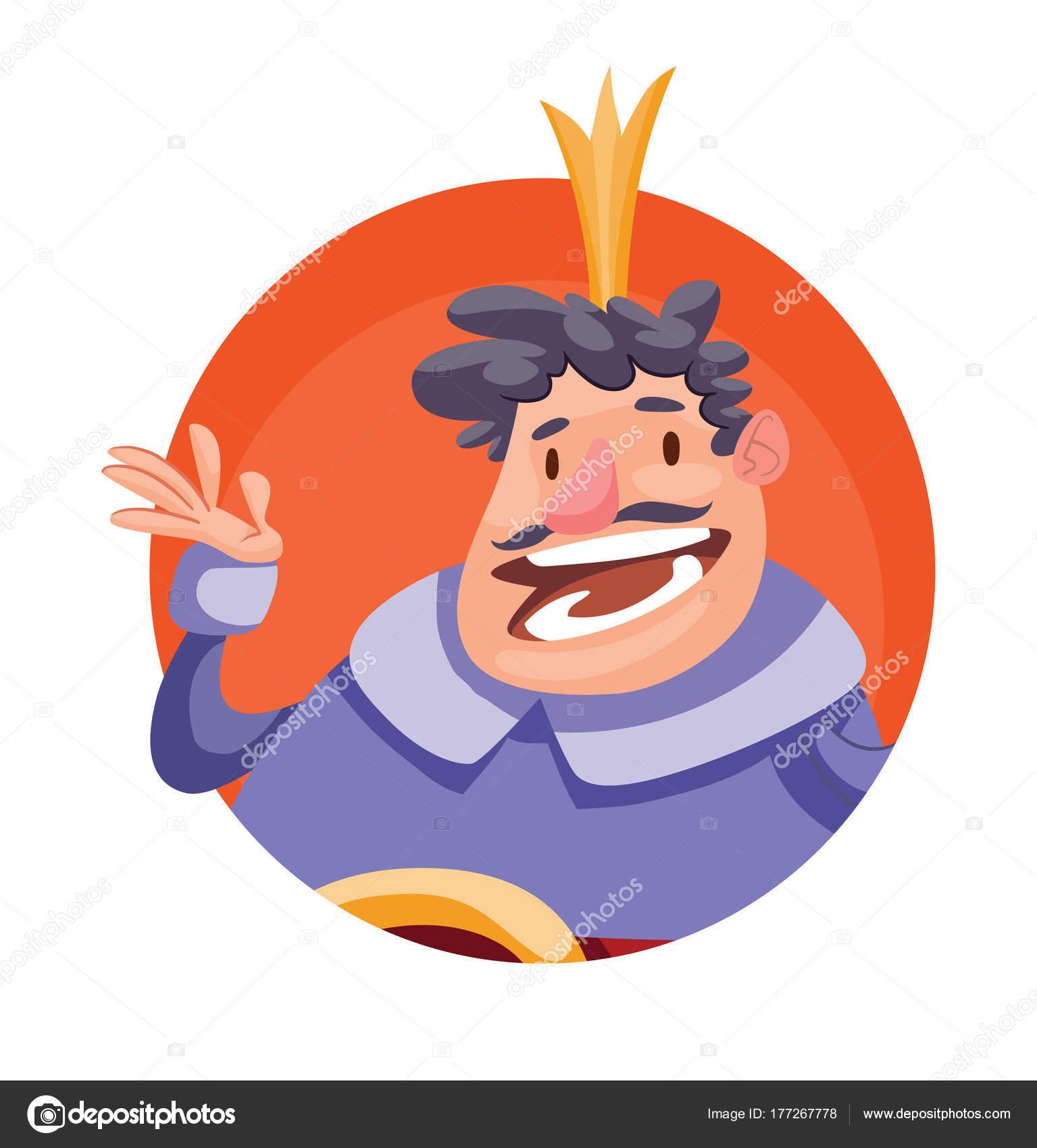 Runde Rahmen, lustige Fett König mit einem lockiges schwarzes Haar ...