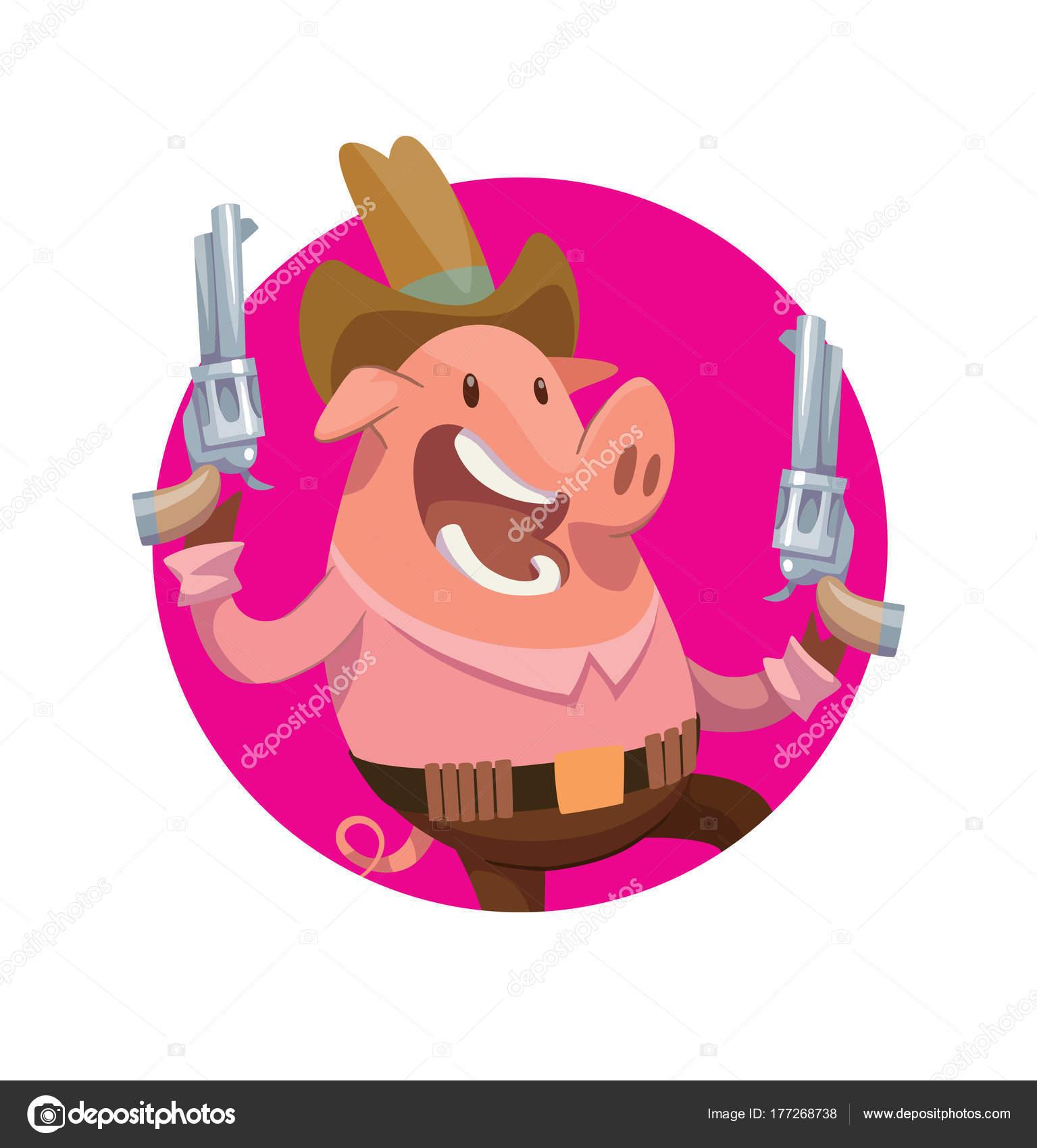 Runde Rahmen lustig rosa männliche Schwein-cowboy — Stockvektor ...