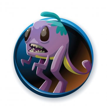 Round frame, funny purple monster with two big hind legs