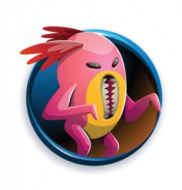 Round frame, funny pink monster with a vertical mouth