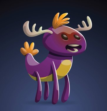 Funny purple monster with horns