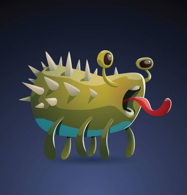 Funny yellow-green monster with spikes
