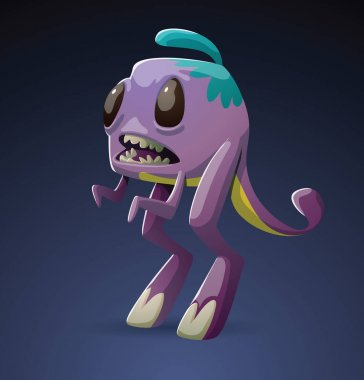 Funny purple monster with two big hind legs