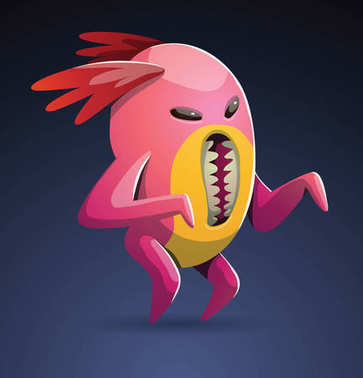 Funny pink monster with a vertical mouth