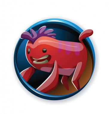 Round frame, funny red monster with a purple tuft