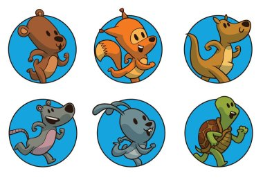 Set of round frames with running animals, color image
