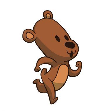 Running animals, cute brown bear