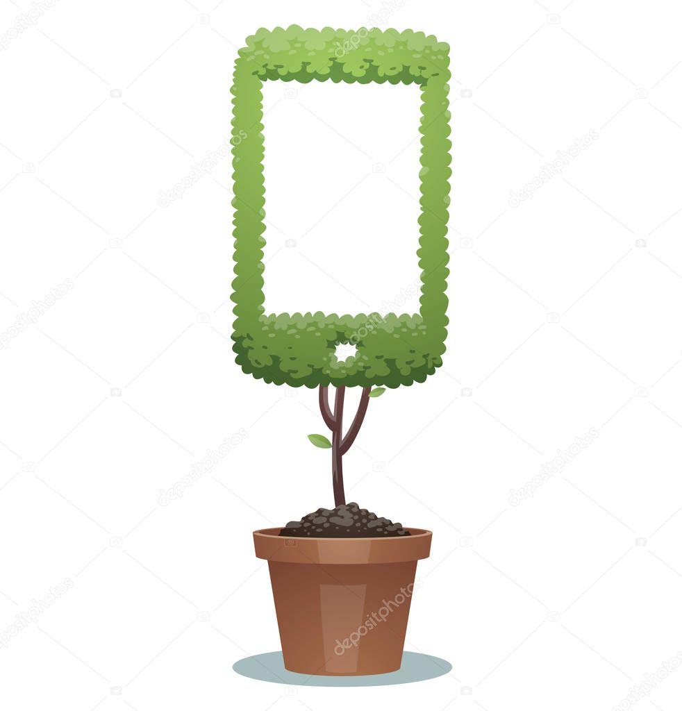 Green bonsai tree, smartphone