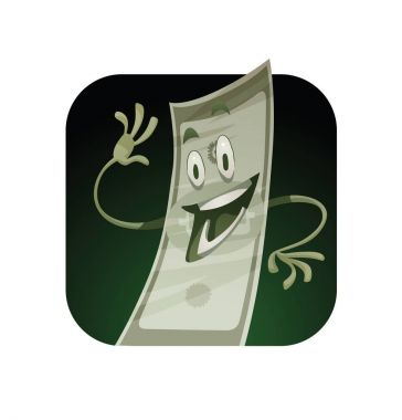 Square frame, funny green banknote waving hand