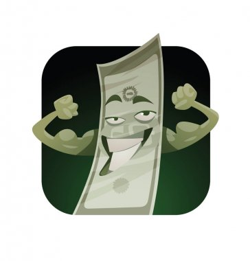 Square frame, funny green banknote showing muscles