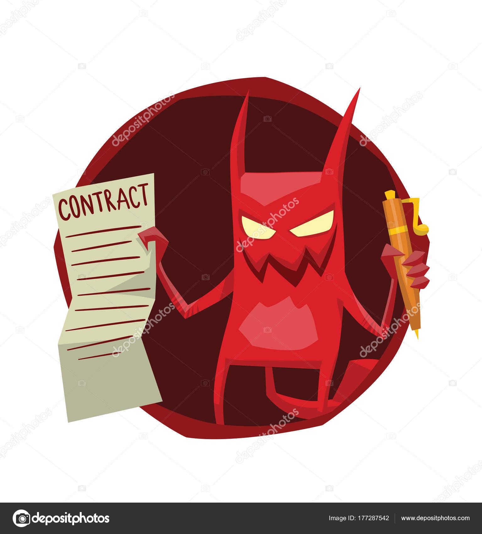 Runde Rahmen, lustige rote Teufel mit einem Vertrag — Stockvektor ...
