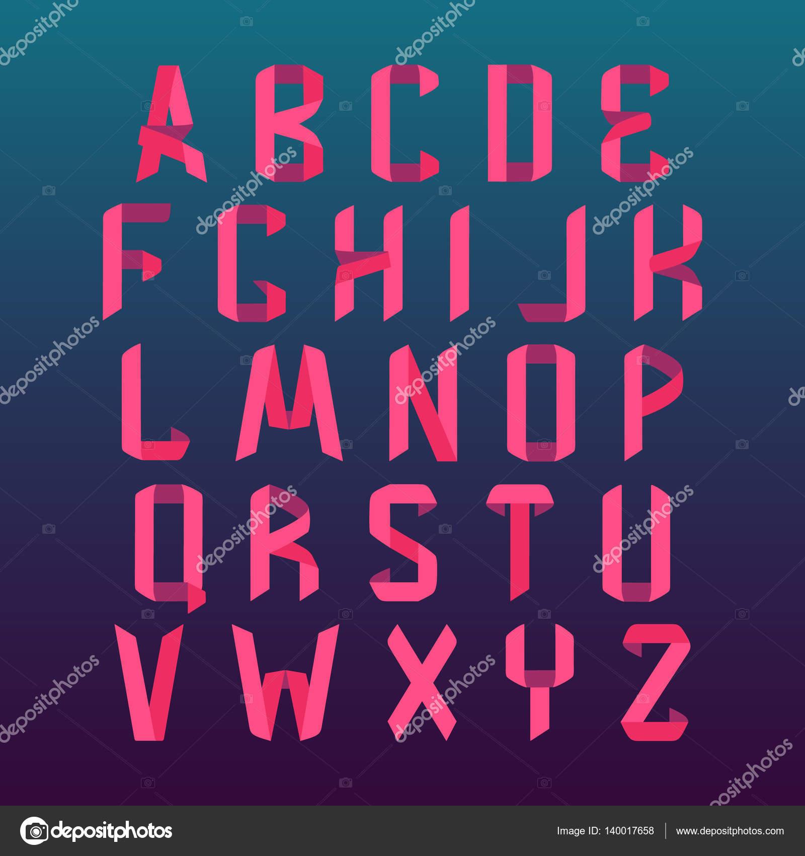 Alfabeto De Fuente De Origami Vector De Stock Naumas 140017658