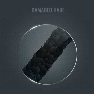 Damaged hair surface