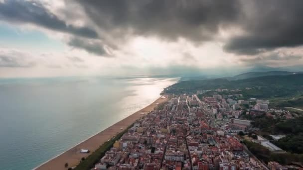 sunset barcelona bay city lights aerial double panorama 4k time lapse spain