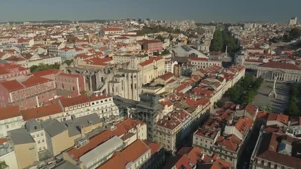 slunečný den čas lisbon cityscape starý carmo kostel letecké panorama 4k portugalština