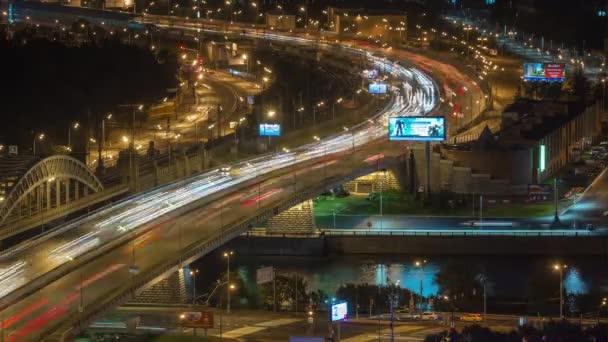 Night illuminated moscow city traffic bridge road ring riverside aerial  panorama 4k time lapse russia