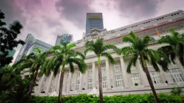 day light singapore city downtown famous hotel panorama 4k time lapse