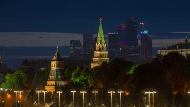 Night light moscow famous kremlin modern city riverside bay panorama 4k  time lapse russia