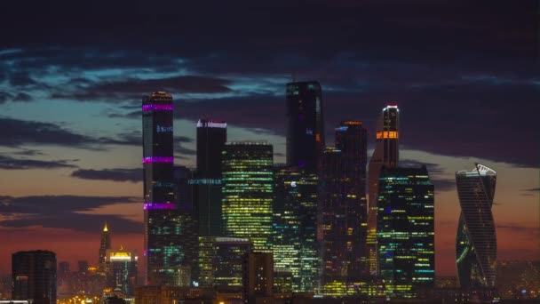 sunset sky moscow modern city rooftop panorama 4k time lapse russia
