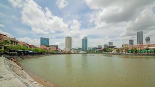 slunečný den Singapur panorama města u řeky 4k časová prodleva