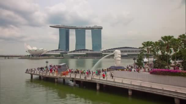 day singapore city famous merlion fountain bay hotel panorama 4k time lapse