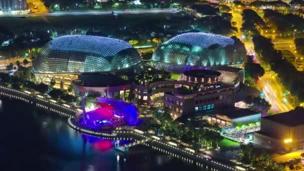 Noche Iluminada Panorama De Singapur Famosa Esplanade Teatros Terraza Bahía 4k Lapso De Tiempo