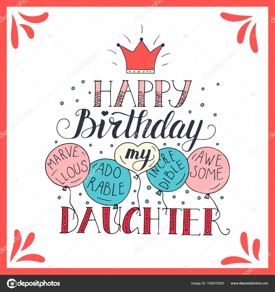 verjaardagskaart dochter Kleur vector verjaardagskaart voor dochter — Stockvector  verjaardagskaart dochter