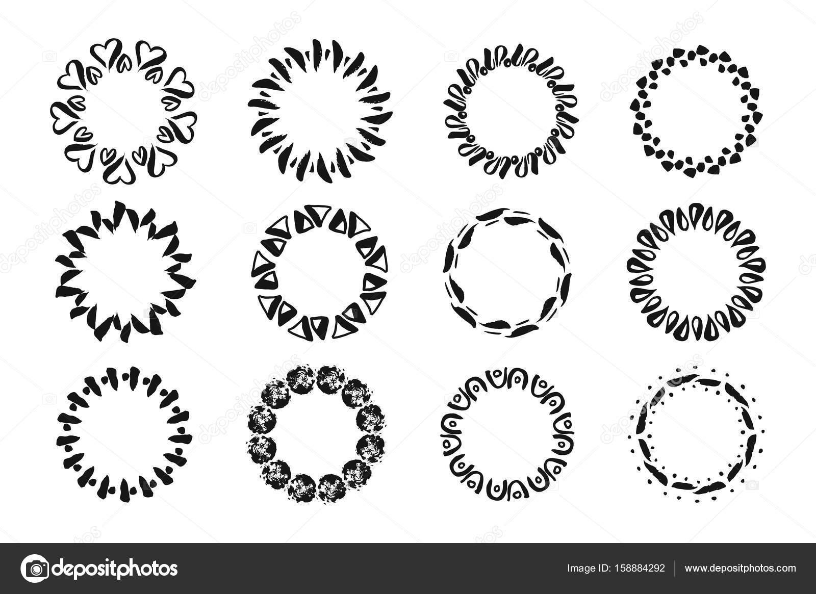 Vektor modernen geometrischen handgezeichneten Tinte Frames. Satz ...
