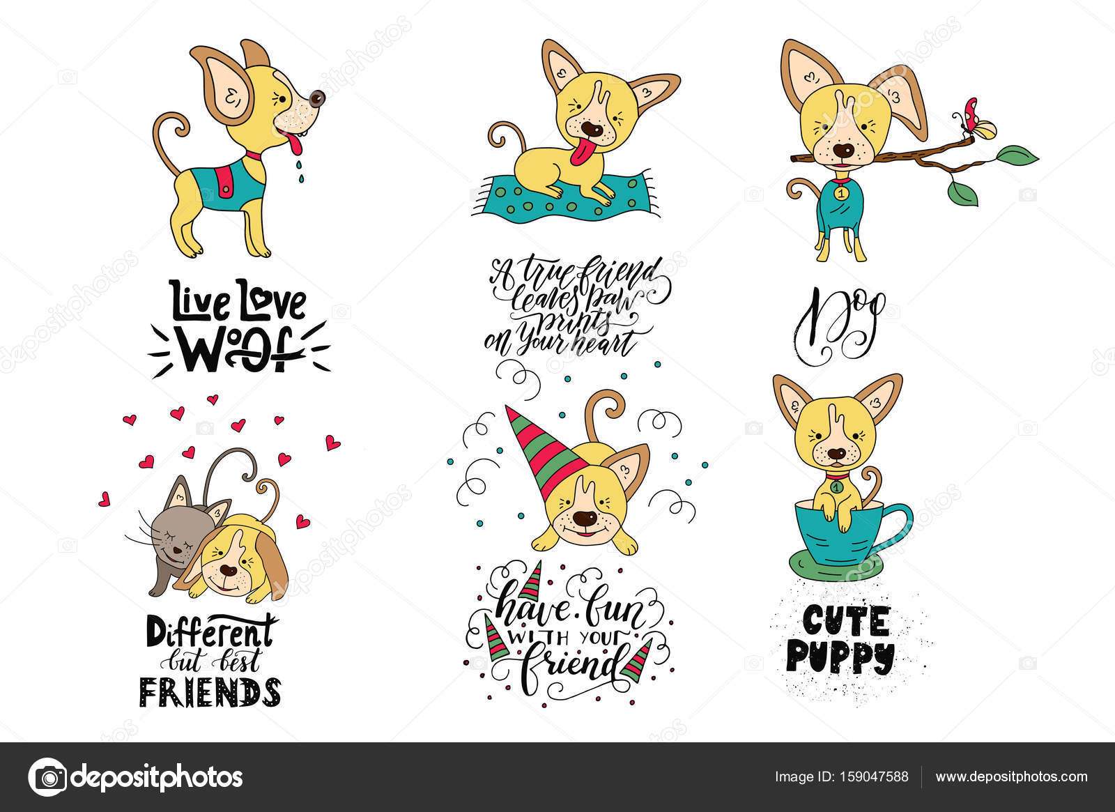 Kolekcja Ilustracji Z Słodkie Psy I Handdrawn Napis Cytaty