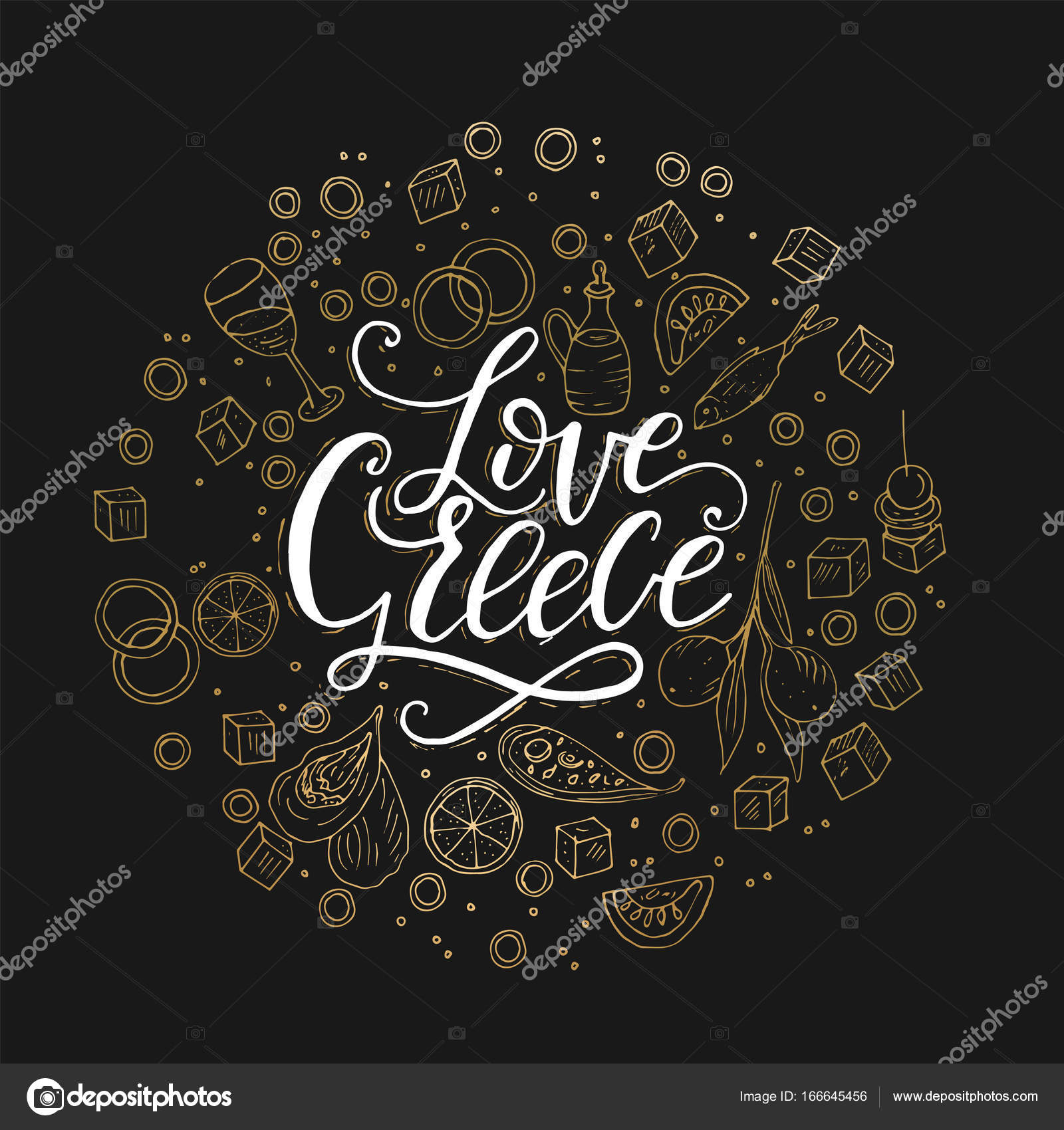 Love greece lettering handdrawn quote stock vector trihubova love greece lettering handdrawn quote with doodle symbols of national greek cuisine vector by trihubovaail biocorpaavc Image collections