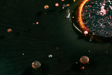 Colorful Bright Bubbles Oil . Hypnotic Surface. Macro